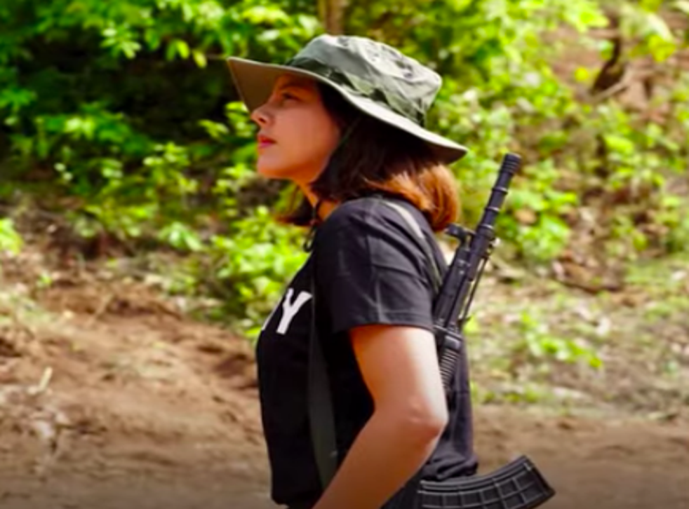 <p>The 32-year-old former beauty queen, Htar Htet Htet, says she is undergoing arms training in a jungle and is prepared to give up everything</p>
