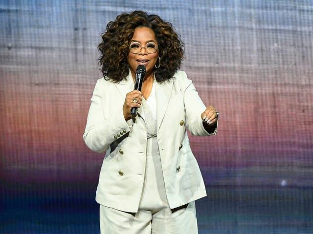 Oprah Winfrey gives a talk on 22 February 2020 in San Francisco, California