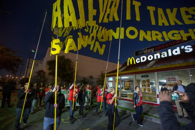 <p>McDonald's workers will join a Fight For $15 strike on 19 May.</p>