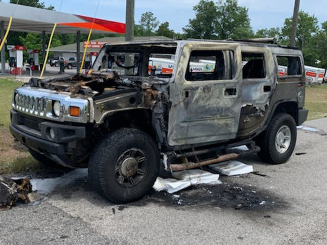 A Hummer carrying four cans of gas burst into flames just after filling up north of Tampa, Florida on 12 May, 2021.