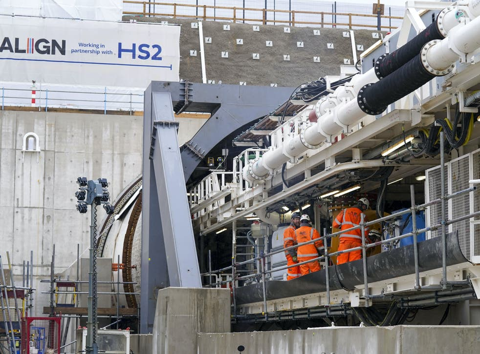Florence, the tunnel-digging machine, at the HS2 site in West Hyde