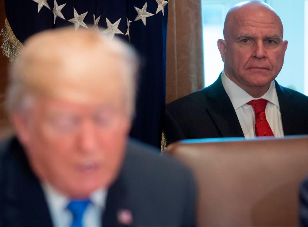 <p>National Security Adviser HR McMaster alongside US President Donald Trump in 2017</p>