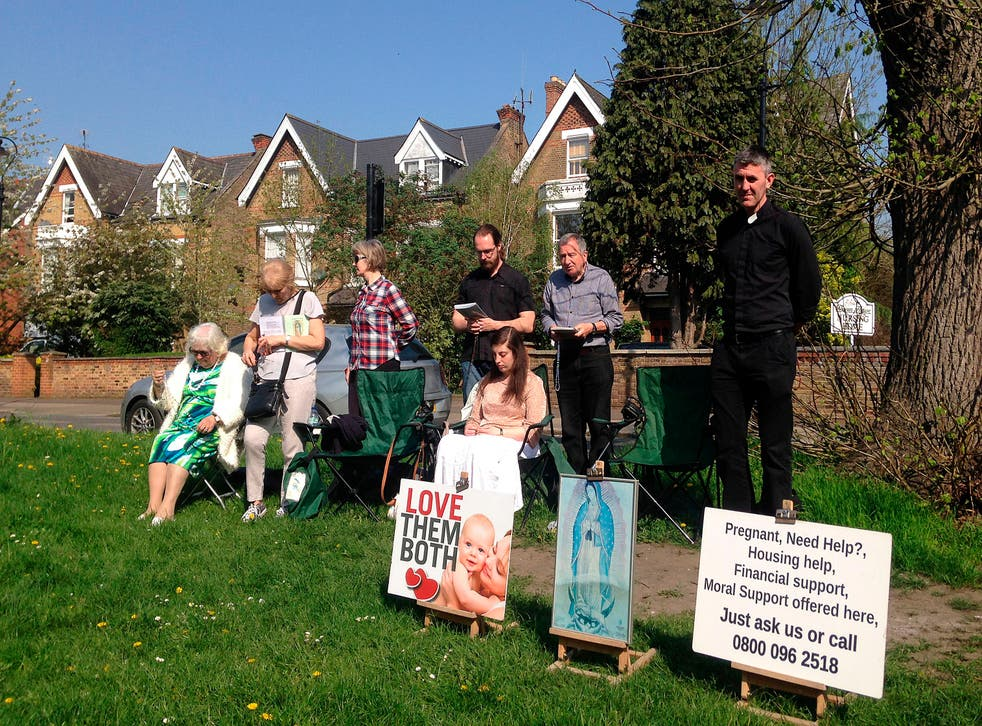 <p>An anti-abortion vigil outside a MSI Reproductive Choices clinic in Ealing in west London that provides contraception and abortions back in 2018</p>