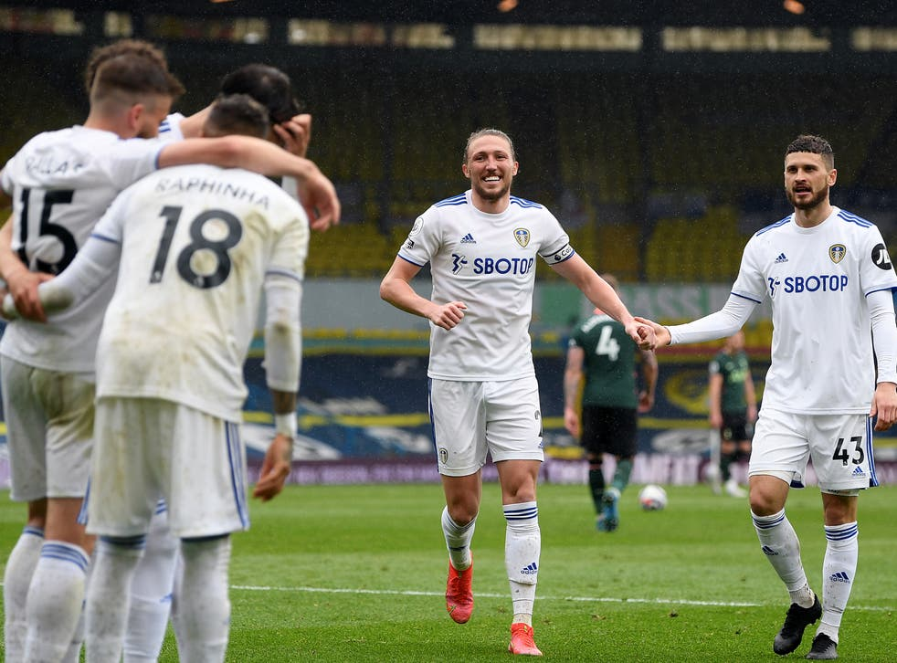 Leeds players celebrate their victory over Tottenham