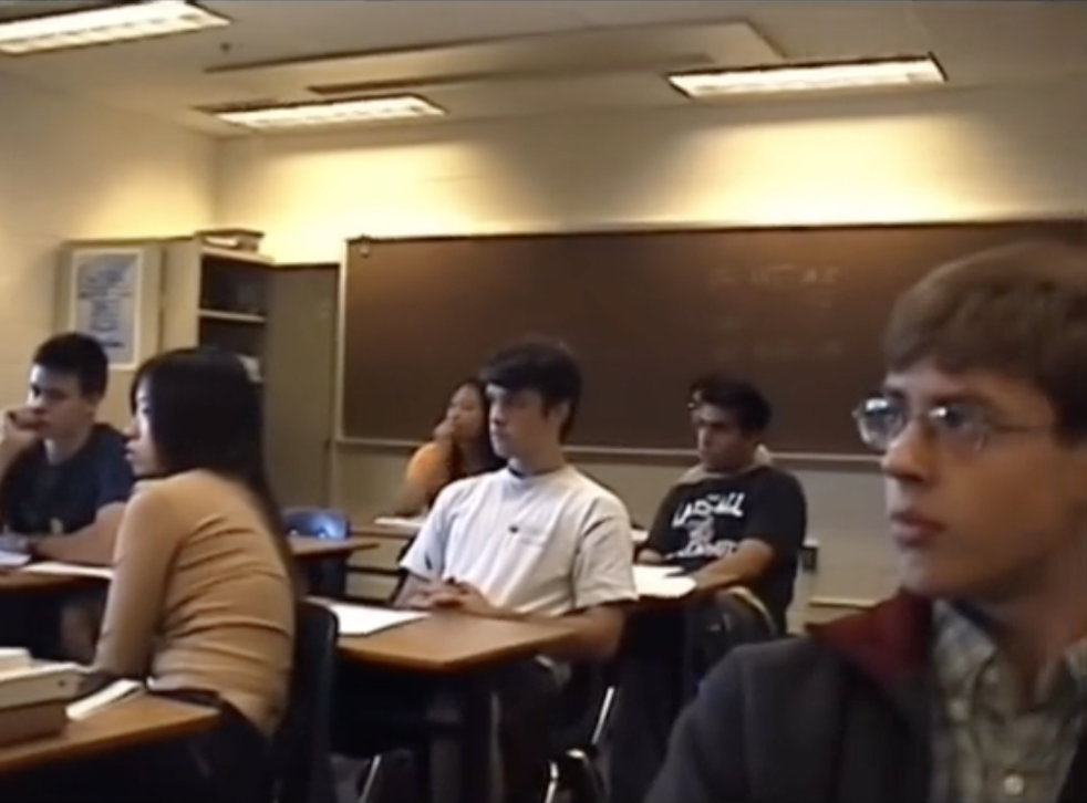 <p>Virginia high school students listen in silence to a news broadcast on 11 September, 2001</p>