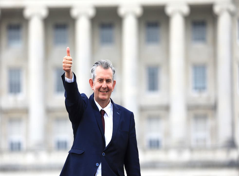 <p>Edwin Poots gives the thumbs up outside Stormont after being elected as the new party leader</p>