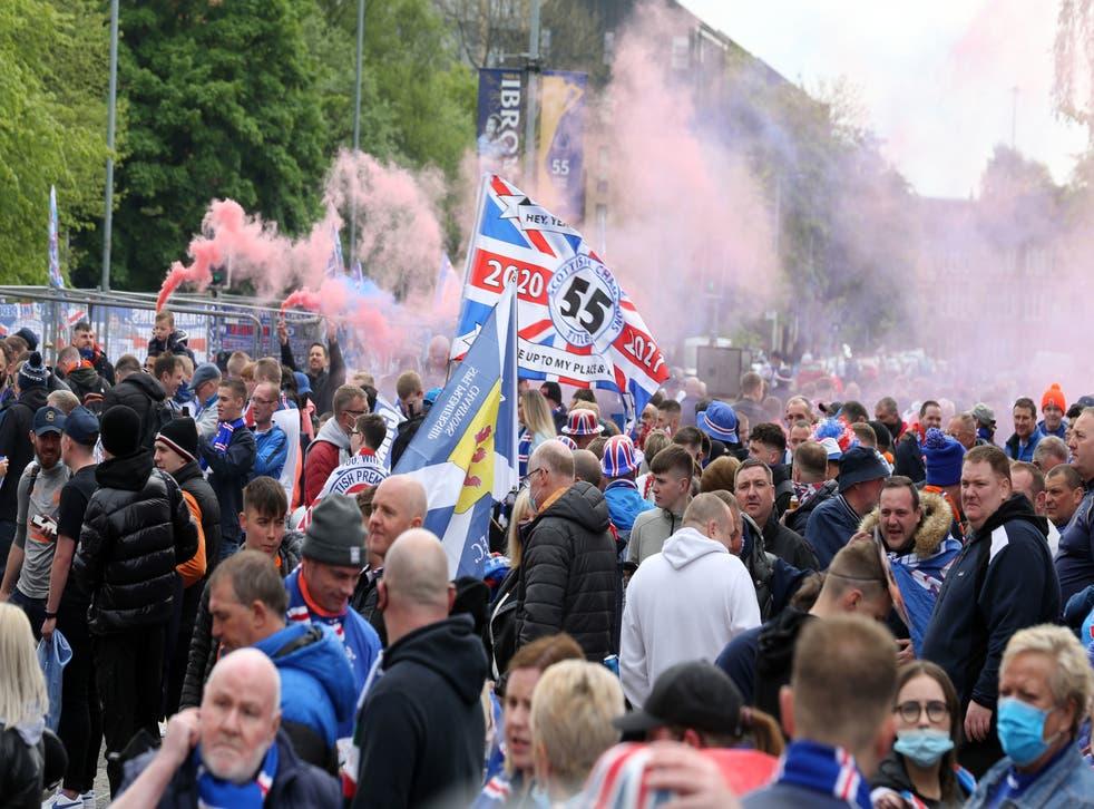 Fans gather outside Ibrox to celebrate Rangers' sesaon
