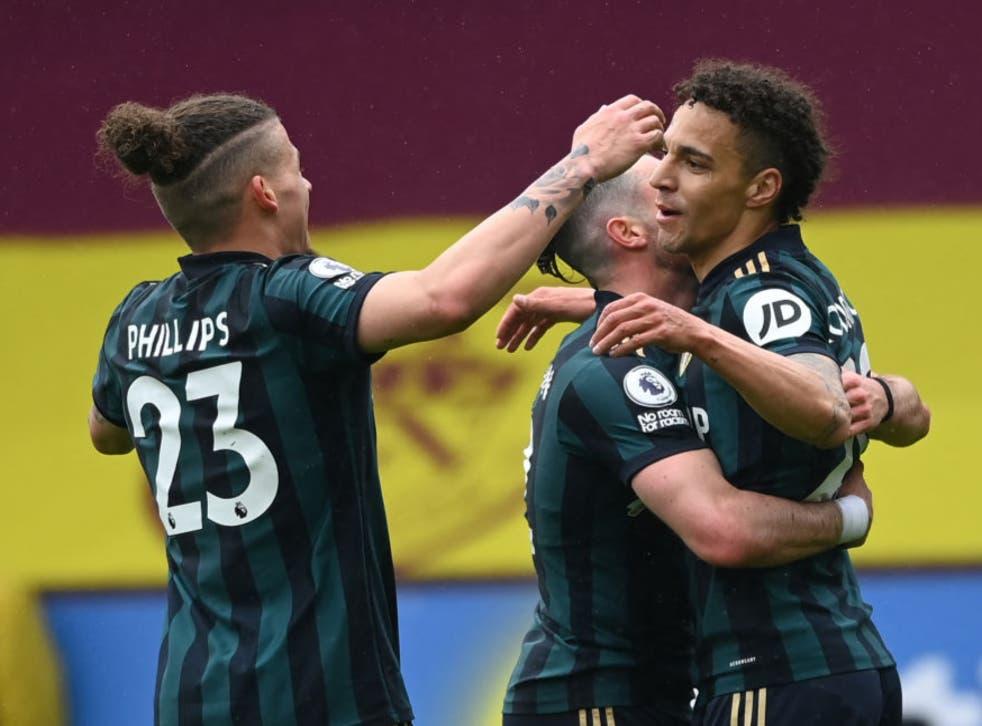 Rodrigo celebrates scoring Leeds' third goal