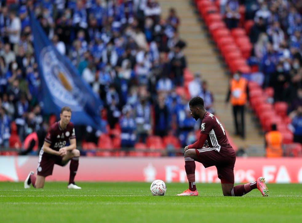 Leicester's Kelechi Iheanacho takes the knee