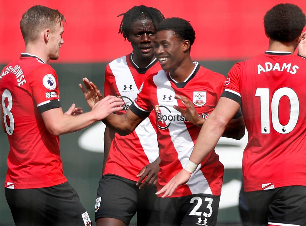 <p>Nathan Tella celebrates scoring against Fulham</p>