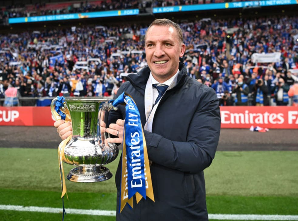 Brendan Rodgers poses with the FA Cup