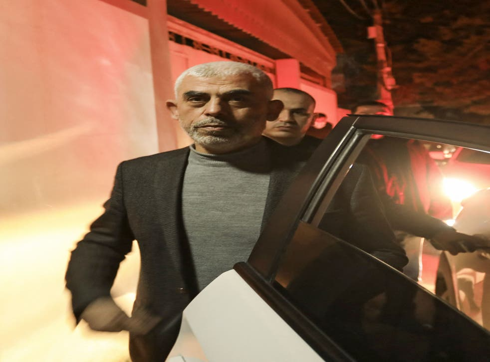 pA file photo taken on 10 March 2021 of Yahya Sinwar, head of Hamas' political wing in Gaza/p