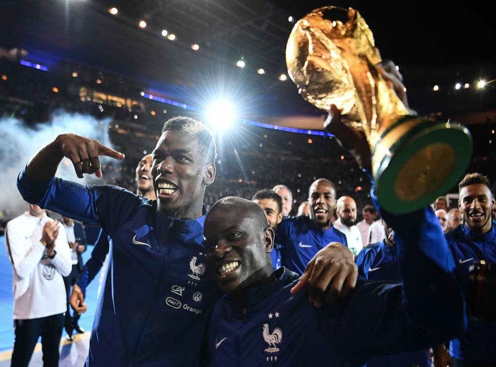 <p>Paul Pogba and N'Golo Kante were World Cup winners in 2018</p>