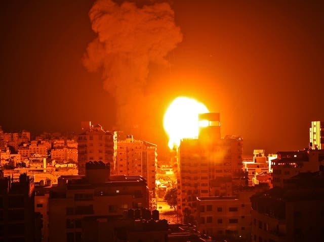 <p>An Israeli airstrike on Gaza City during the early hours of Monday</p>