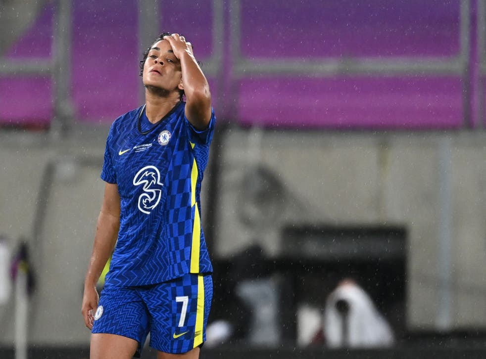 Chelsea's Jessica Carter reacts at full-time