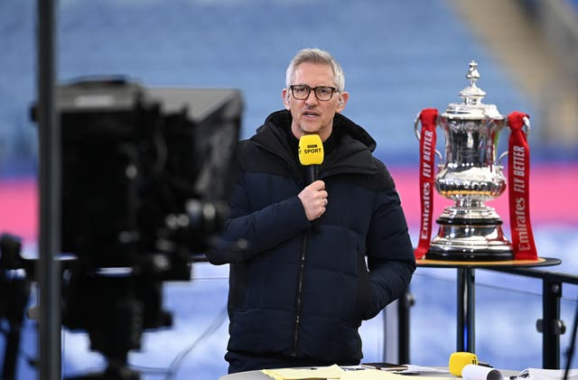 Gary Lineker presenting the FA Cup final on the BBC
