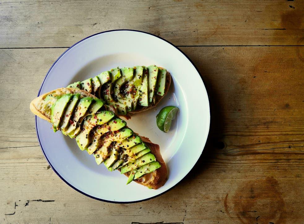 Sliced avocado on sour dough bread