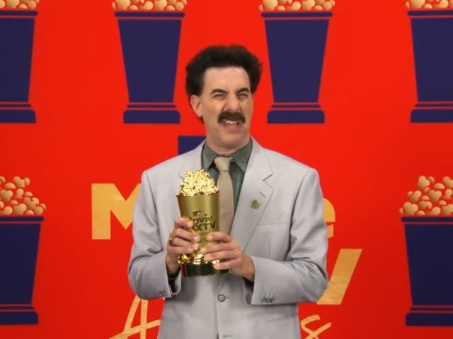 Sacha Baron Cohen appears as Borat during the MTV Movie & TV Awards 2021