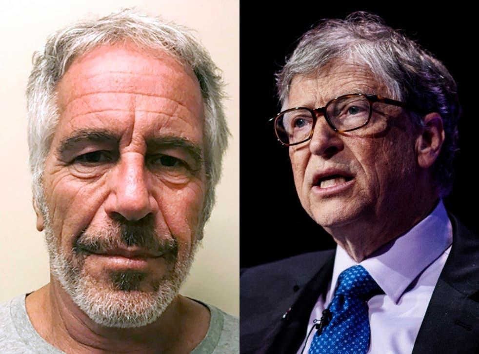 Bill Gates (derecha) se ha enfrentado a preguntas en el pasado sobre sus vínculos con Jeffrey Epstein (izquierda), quien fue arrestado en 2019 por cargos federales de tráfico sexual y murió por suicidio mientras esperaba el juicio.