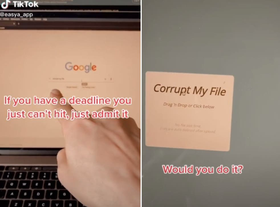 <p>A screenshot of the video shows how you can cheat your way out of a deadline</p>