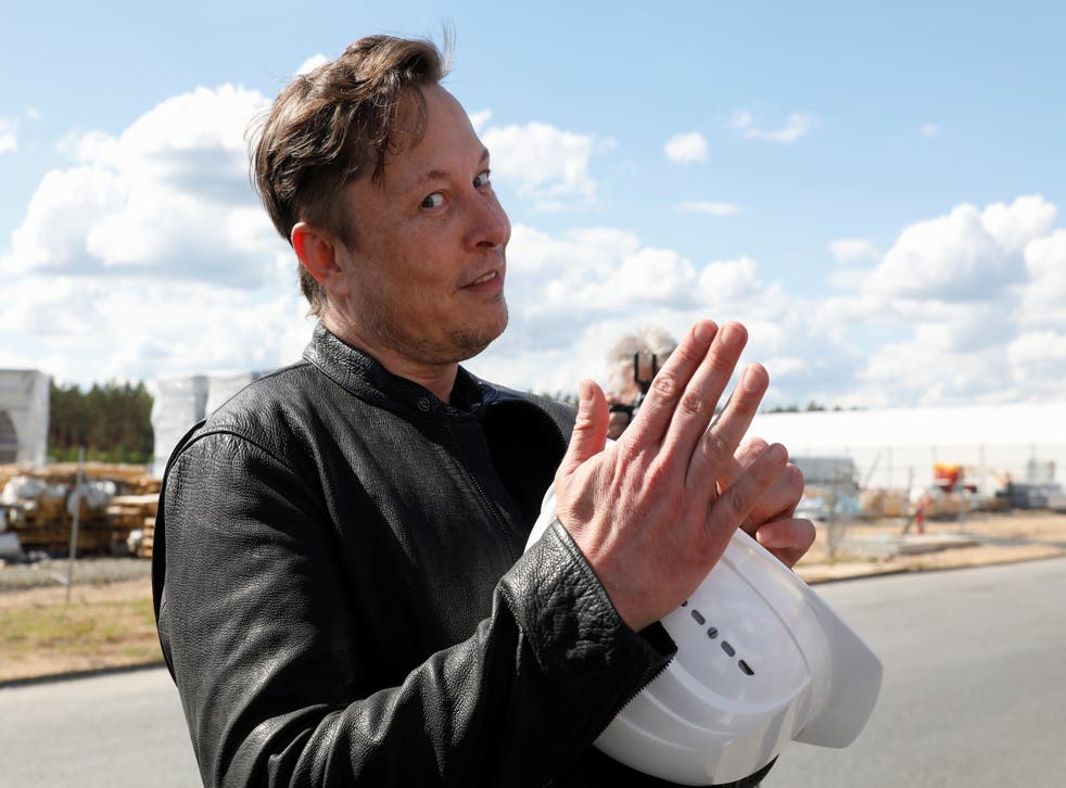 SpaceX founder and Tesla CEO Elon Musk visits the construction site of Tesla's gigafactory in Gruenheide, near Berlin