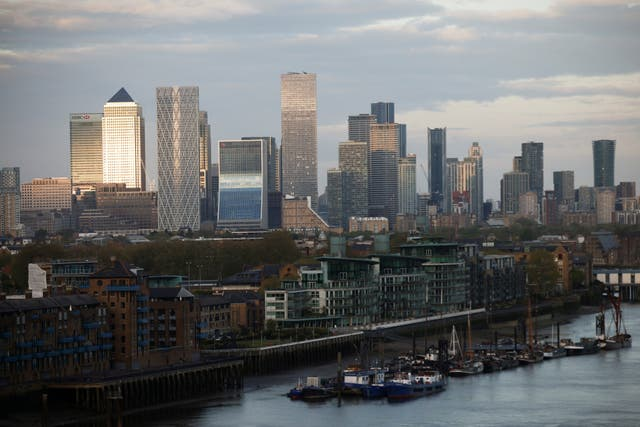The City of London is pictured on 8 May, 2021.