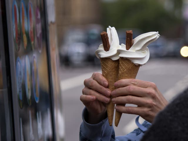 Pair of 99 flake ice creams just brought from an ice cream truck