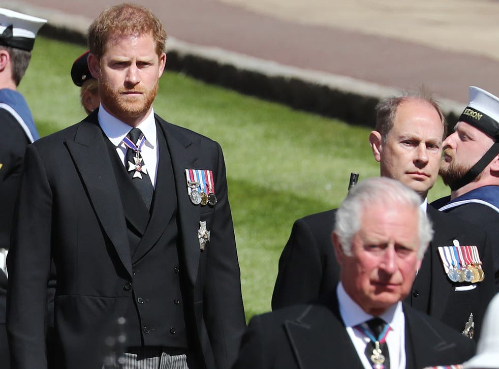 Prince Harry, Duke of Sussex, Prince Charles, Prince of Wales and Prince Edward, Earl of Wessex during the funeral of Prince Philip, Duke of Edinburgh at Windsor Castle on 17 April 2021 in Windsor