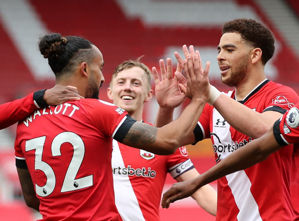 Southampton players celebrate during their win against Fulham