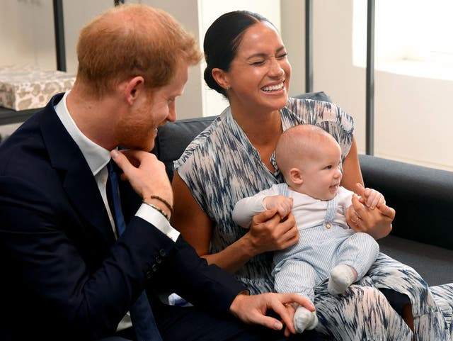 Prince Harry, Duke of Sussex, Meghan, Duchess of Sussex and their baby son Archie Mountbatten-Windsor meet Archbishop Desmond Tutu at the Desmond & Leah Tutu Legacy Foundation