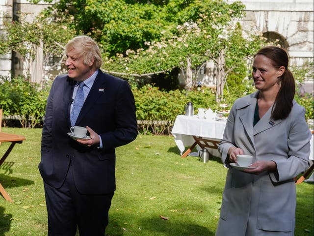 Boris Johnson with Jenny McGee as the NHS celebrates its 72nd anniversary