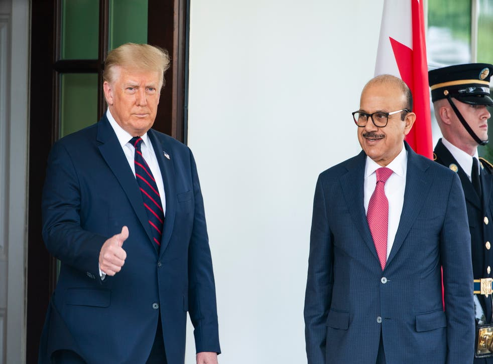 Former US President Donald Trump and the Bahraini Foreign Affairs Minister Sheikh Khalid Bin Ahmed Al-Khalifa, at the signing of the Abraham Accords in September