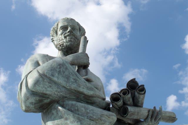 <p>A statue of Aristotle (384-322 BC) at the Aristotle University of Thessaloniki, Greece</p>
