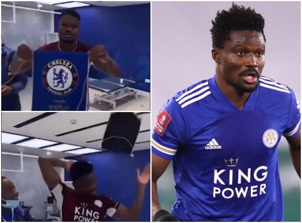 Daniel Amartey throws the Chelsea pennant over his head