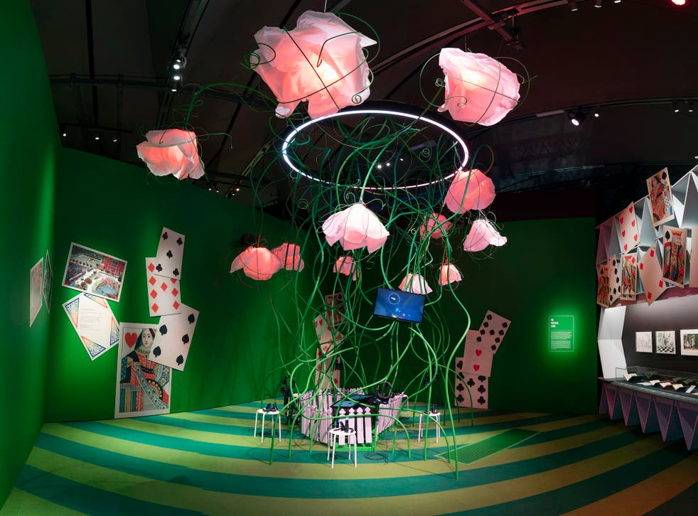 <p>There's a giant toppling house of cards, a gargantuan caterpillar on stilts and Bridget Riley-style wallpaper on display</p>