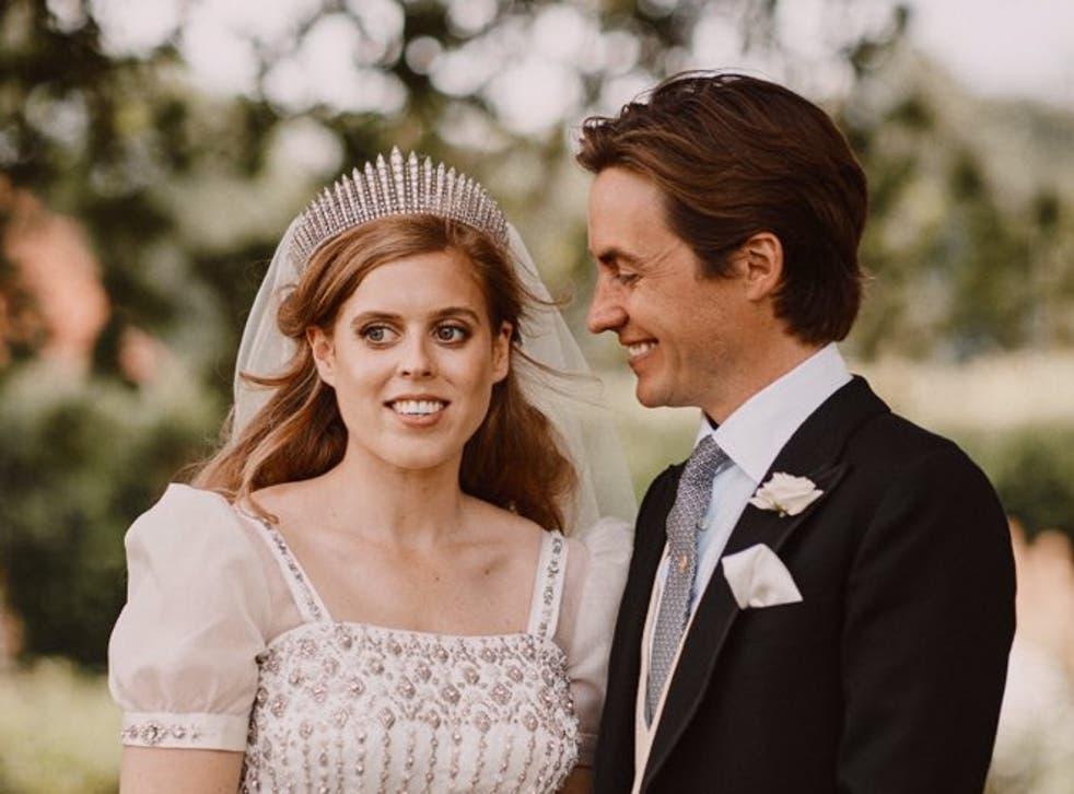 <p>Princess Beatrice and Edoardo Mapelli Mozzi on their wedding day in 2020 </p>