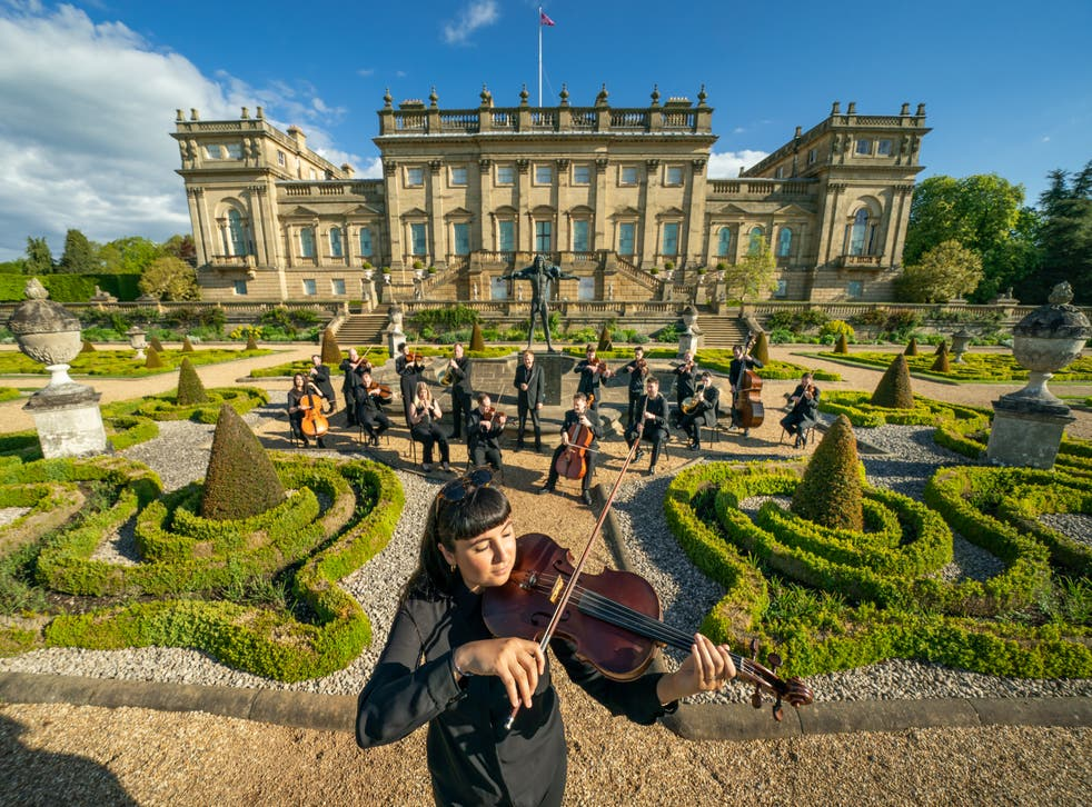 Sophia Dignam plays the viola along with other members of the Yorkshire Symphony Orchestra at Harewood House