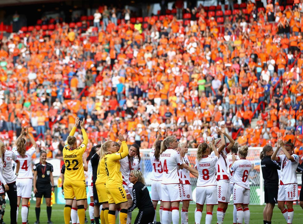 Denmark players applaud the crowd following their defeat in the Euro 2017 final