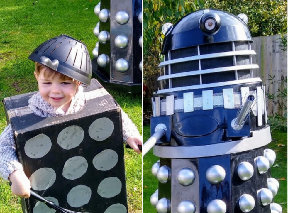 <p>Father Andy Dobson shared the sweet snap of son Rory in his Dalek costume to his Twitter</p>