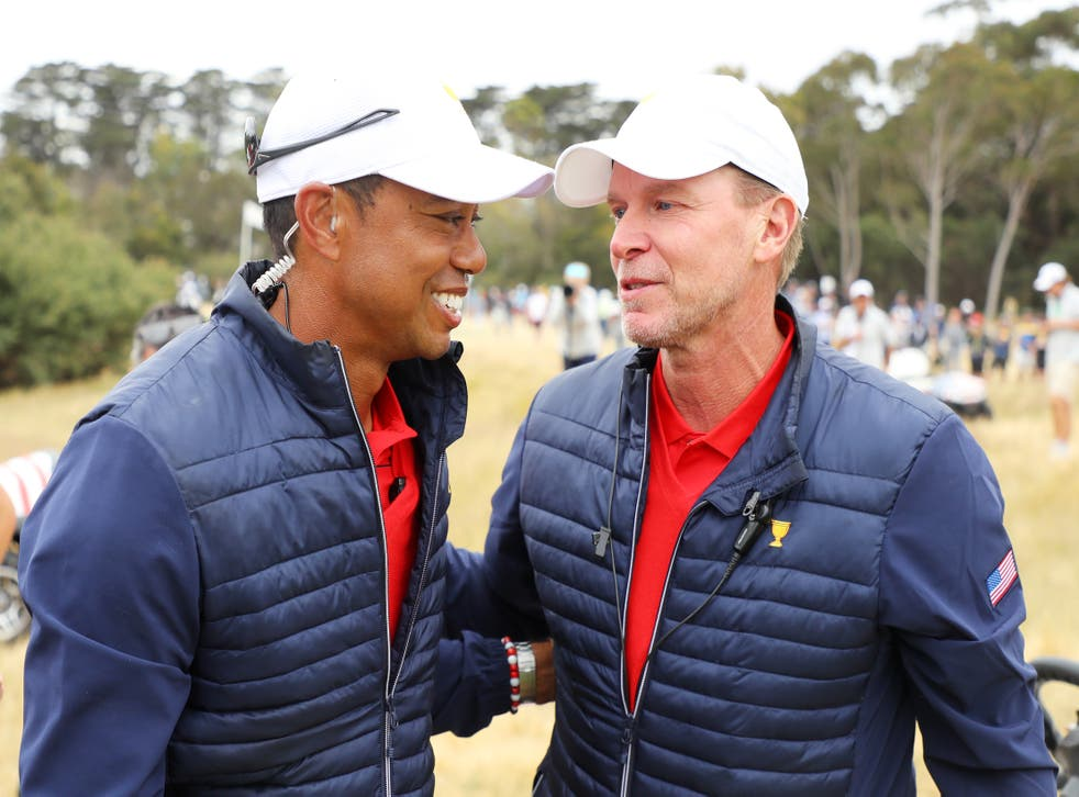 <p>Tiger Woods and Steve Stricker at the 2019 Presidents Cup</p>