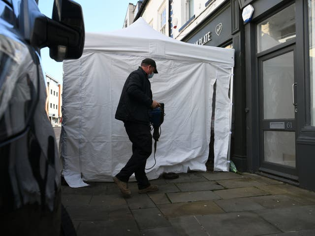 Contractors have arrived with drilling tools as excavation work begins at The Clean Plate cafe in Gloucester in the search for a suspected Fred West victim