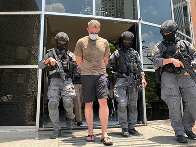 <p>Thai police arrest two former US Marines, including Jeremy Manchester (pictured), over alleged kidnapping plot</p>