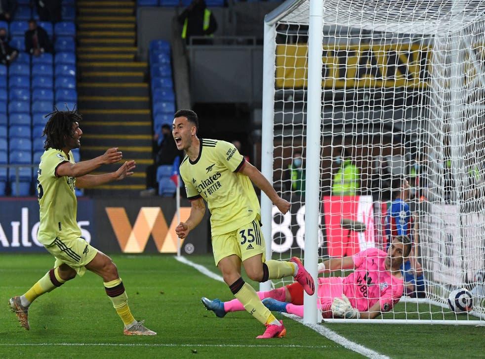 <p>Gabriel Martinelli put Arsenal ahead in the 91st minute</p>