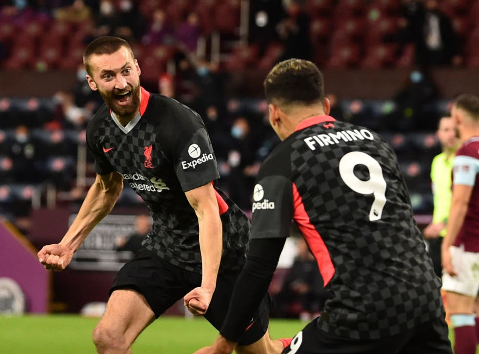 <p>Nat Phillips celebrates scoring against Burnley</p>