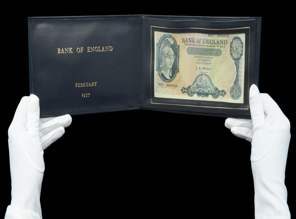 The fiver presented to Harold Macmillan