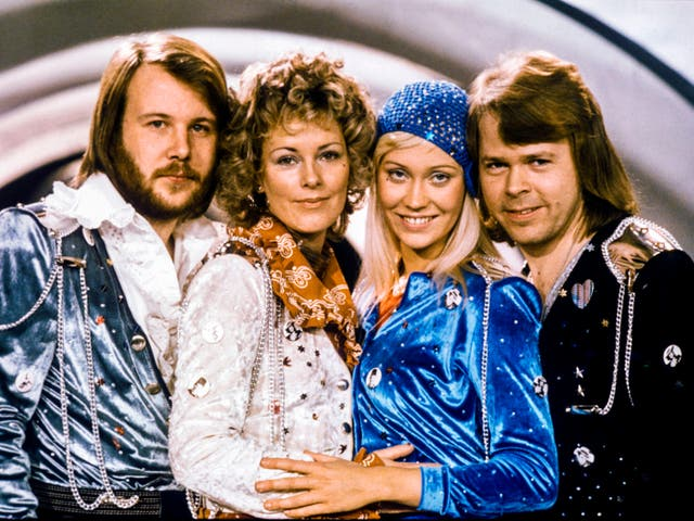<p>Field of battle: Abba strike a pose after winning the Swedish branch of the Eurovision Song Contest in 1974</p>