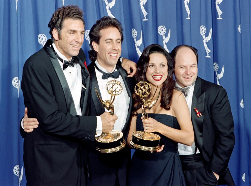 """The cast of the Emmy-winning """"Seinfeld"""" show pose with the Emmys they won for Outstanding Comedy Series on September 19, 1993"""