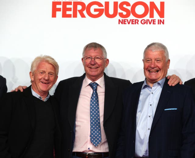 Sir Alex Ferguson (centre), Gordon Strachan (left) and Archie Knox attend the premiere