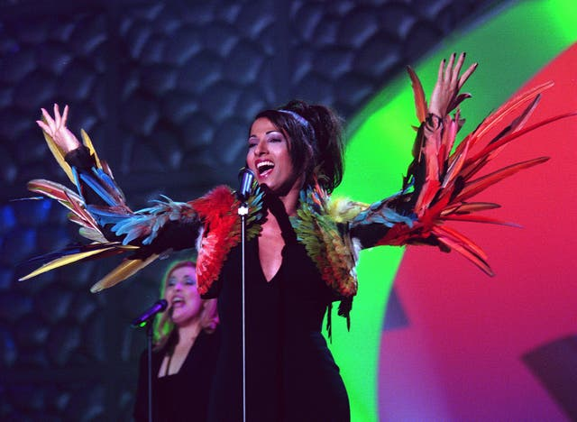 Dana International performs Israel's winning entry, 'Diva', for the 1998 Eurovision Song Contest