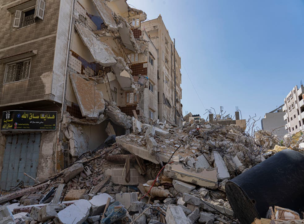 The aftermath of an airstrike in Gaza City